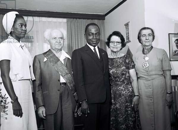 Israeli Prime Minister, Ben-Gurion with Ivory Coast President Houphouet Boigny and Foreign Minister Golda Meir in Jerusalem, 1962