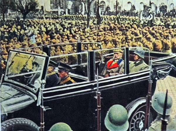 Paul Von Hindenburg seated next to general in his car