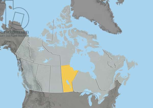 Province of Manitoba, Canada, Relief Map