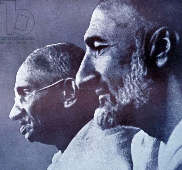 Mohandas Karamchand Gandhi with Abdul Ghaffar Khan, 1940
