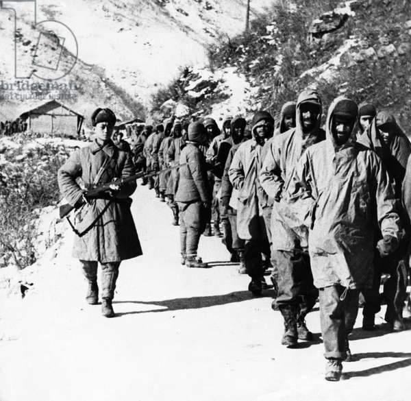 Korean War. American soldiers captured by the Chinese People's Volunteer Army near the Chosin Reservoir. November 1950.