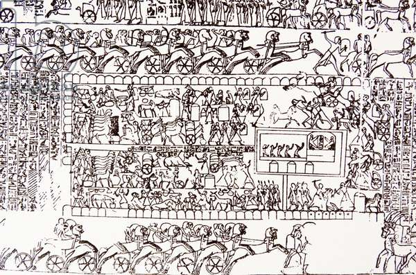 Detail from a frieze showing the Battle of Kadesh (Qadesh) between the Egyptian Empire under Ramesses II and the Hittite Empire under Muwatalli II