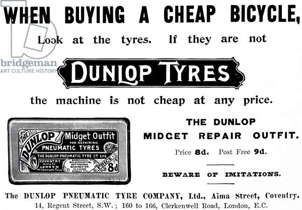 An advertisement for Dunlop tyre repair kit, 20th century
