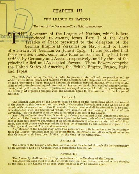 The Covenant of the League of Nations, 1919
