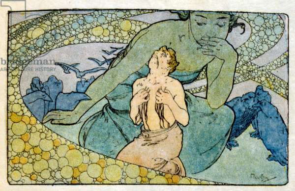 """Illustration by Alphonse Mucha from """"Clio"""" a work by French author Anatole France. 1900. Mucha (1860 – 1939). was a Czech Art Nouveau painter"""