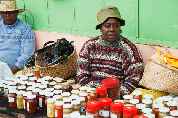 Woman Selling Preserves and Bottled Pickles For Sale, Port Mathurin, Rodrigues Island, Mauritius (photo)