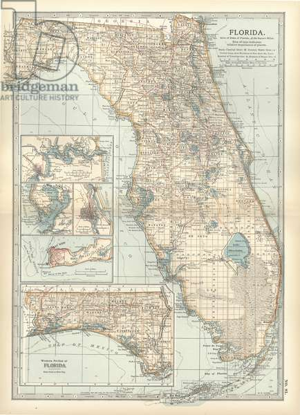 Map of Florida with insets of cities