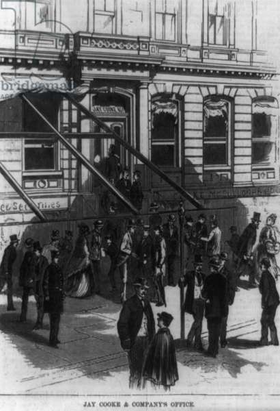 Scenes in Wall Street during the panic. Jay Cooke & Company's office Date 18730101.