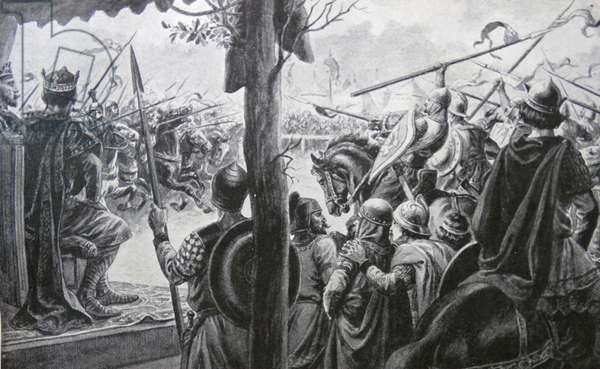 Engraving depicting an assault at arms between the men of Louis and his brother Charles and Grandsons of Charlemagne