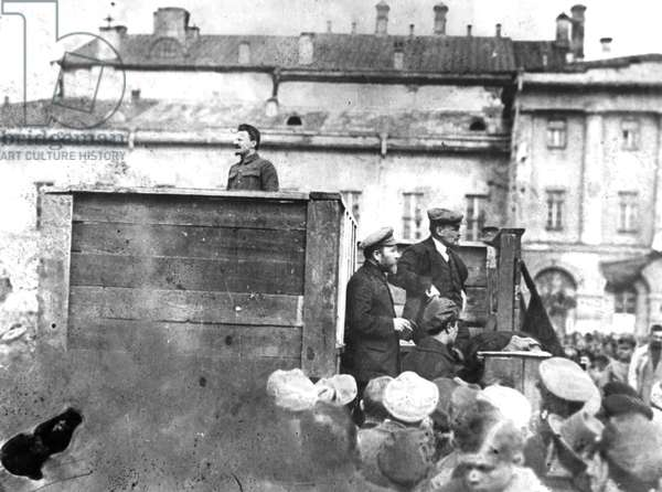 Leon Trotsky Addressing Troops on their Way to the Polish Front (Civil War Period), May 5Th 1920, Sverdlov Square, Moscow, on the Stairs Behind the Speakers' Platform are Lev Kamenev (In Peaked Cap) and V, I, Lenin.