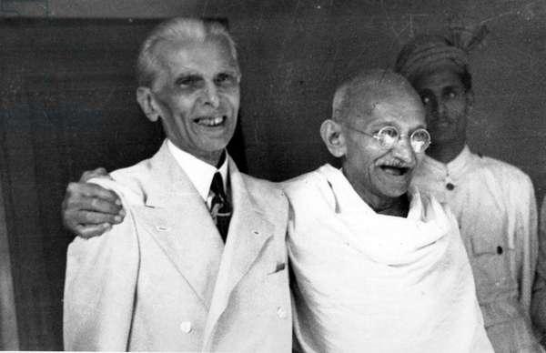 Muhammad Ali Jinnah with Mahatma Gandhi.