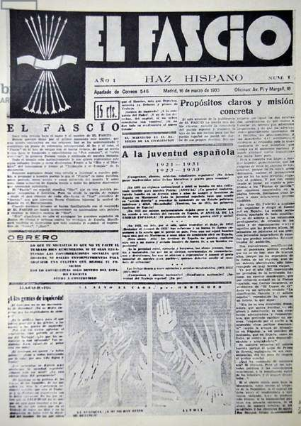 Spanish civil war: El Fascio Magazine, published by the Spanish falange party in the 1930's