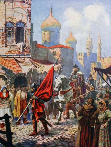The return of Ivan The Terrible to Moscow after the conquest of Kazan.