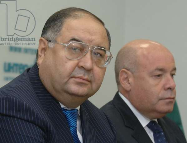 Moscow, Russia, October 2, 2007, Gazprominvestholding General Director Alisher Usmanov (L) and Chairman of the Russian Federal Agency for Culture and Cinematography Mikhail Shvydkoi at a Press Conference on the Rostropovich-Vishnevskaya Collection'S Fate in Russia.