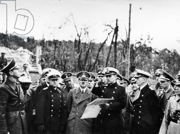 World War Ll: Invasion of Poland, Sept, 1939, Hitler Inspecting the Westerplatte Area after the Battle.