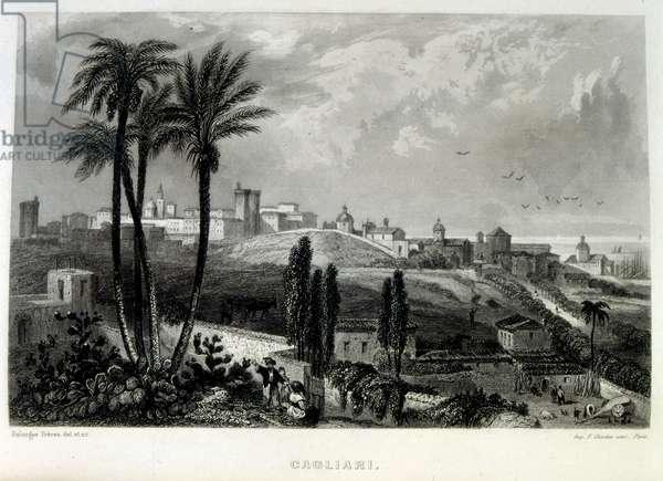 Mediterranean coast off Cagliari, Italy, 1862. French illustration