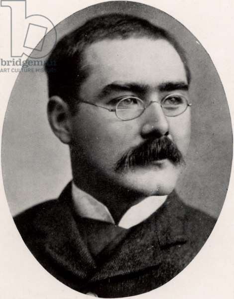 Rudyard Kipling (1865-1936) English journalist, novelist and poet, born in India. Halftone after a photograph.