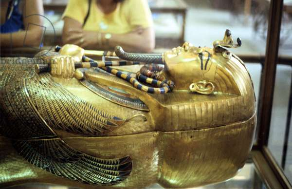 Golden sarcophagus of Tutenkamen (Tutankhamun) dc1340BC. Ancient Egyptian Pharaoh.