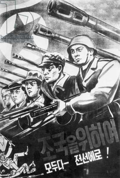Korean War. A North Korean Propaganda Poster That Reads: 'Everybody Into The Fight For The Homeland!'. September 1950.