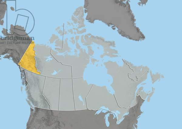 Yukon, Canada, Relief Map