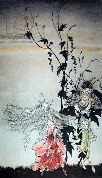 Peaseblossom, cobweb, Moth, Mustardseed, the fairies who attended Titania in A Midsummer Night's Dream by Arthur Rackham