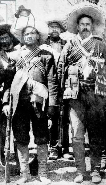 Calixto Contreras (left) with Doroteo Arango Arambula (1878-1923) known as Pancho Villa, Mexican revolutionary general.