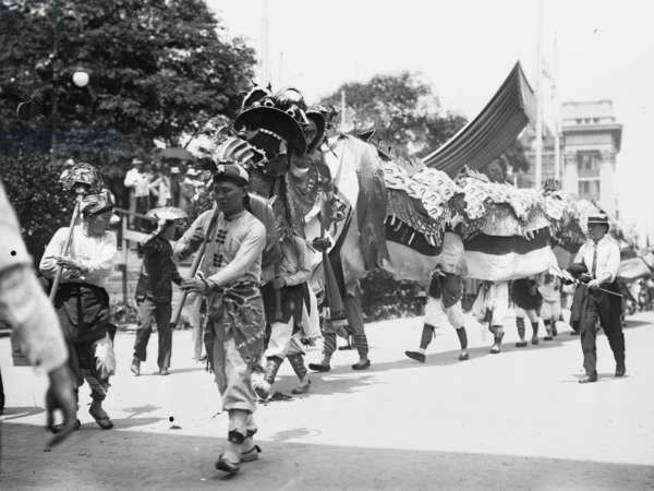 Chinese Dragon and Contingent in 4th of July Parade 1912 (photo)