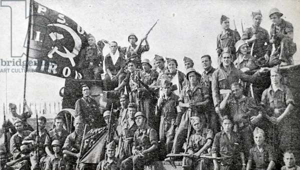 Artillery Forces at Gerona. Republican Communist soldiers during the Spanish Civil War