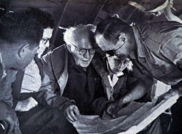 Prime Minister David Ben-Gurion meeting with Moshe Dayan, 1956