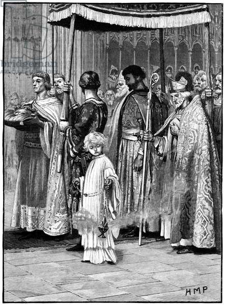 Coronation of Richard I in Westminster Abbey 1189. Richard processing down the aisle. Son of Henry II and Eleanor of Aquitaine, reigned as King of England (1189-1199). Second of the Angevin (Plantagenet) kings of England. Wood engraving c1880.