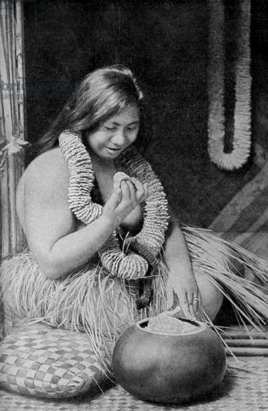 Hawaii. Hawaiian miss horner eating her favourite poi. 1920