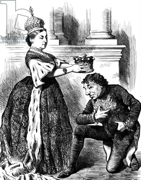 Queen Victoria presenting Benjamin Disraeli with an Earl's coronet