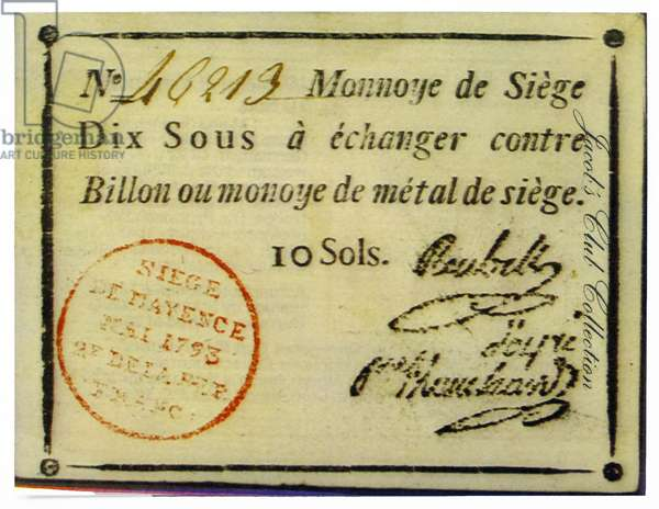 Siege of Mayence 10 Sols banknote issued at Mainz (French Mayence)