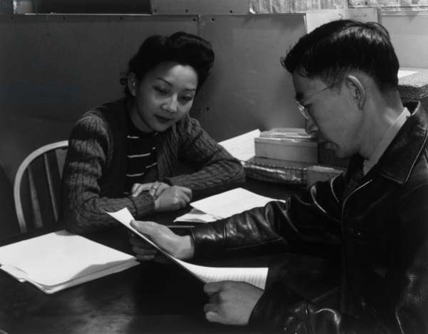Fumiko Hirata and Mr. Matsumoto, Manzanar Relocation Center, California, 1943 (photo)