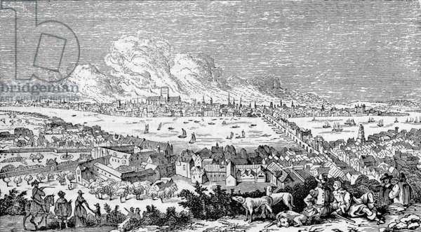 Great Fire of London, 1666 Victorian engraving, after Visscher