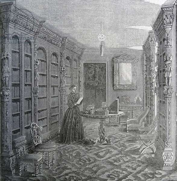 Illustration of a wealthy woman reading a book in her library
