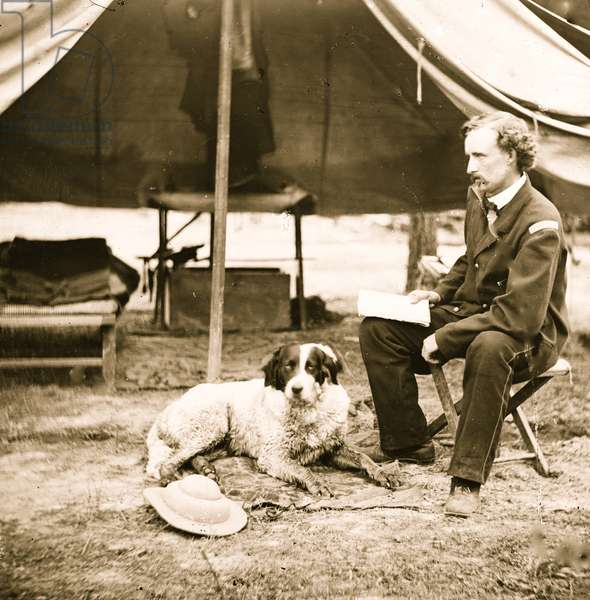 Lt. George A. Custer with dog 1863 (photo)