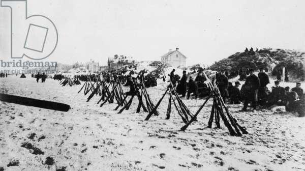 Belgian Troops on the Beach, 1916 (b/w photo)