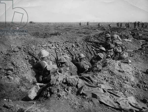 Battle of Guillemont, 1916 (b/w photo)