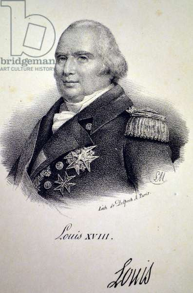 Louis XVIII of France, 1840 (litho)