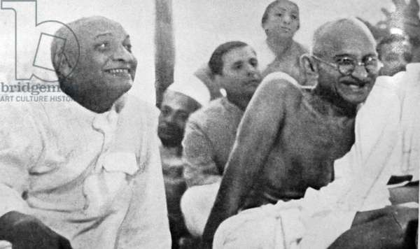 Mohandas Karamchand Gandhi with Sardar Patel 1945