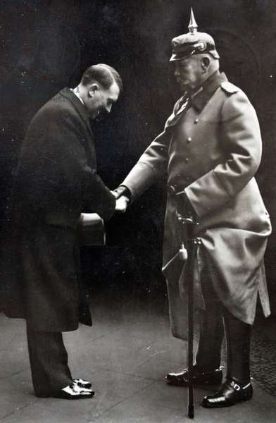 President Paul Von Hindenburg with Chancellor Adolf Hitler in 1933. Hindenburg (1847 – 2 August 1934) was a Prussian-German field marshal, statesman, and politician, and served as the second President of Germany from 1925 to 1934.