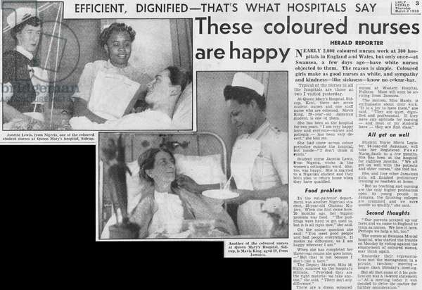 Newspaper article featuring coloured nurses of the National Health Service