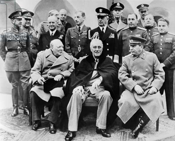 Winston Churchill, Theodore Roosevelt And Joseph Stalin At A Conference In The Lyvadia Palace