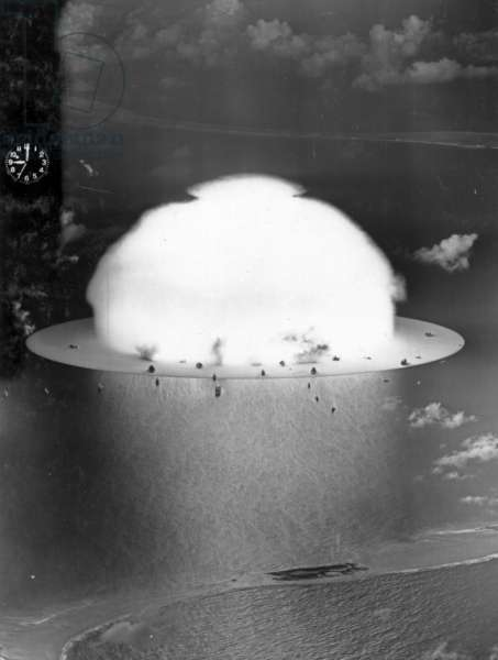 A mushroom cloud during Operation Crossroads, 1946