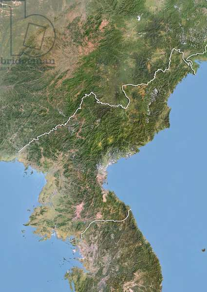 Satellite view of North Korea with Bump Effect (with border). This image was compiled from data acquired by LANDSAT 5 & 7 satellites ©Planet Observer/UIG/Leemage