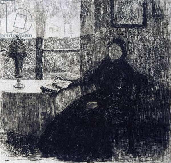 Histoires et Aventures Hans Christian Andersen (1805-1875) Danish author. Etching of Grandmother for 1909 edition.