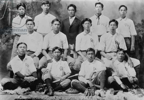 Chinese Baseball Team from Honolulu Hawaii 1910 (photo)