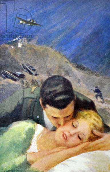 World War Two: Sentimental Italian postcard for civilians to send to their men at the frontline.