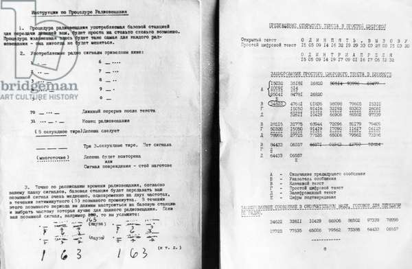 Penkovsky-Wynne Spy Trial, May 1963, Pages of Instructions for Radio Broadcasting and the Use of Code Books Received from the British and American Intelligence Services.